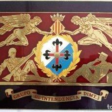 Militaria: PLACA DE LATON, GRUPO DE INTENDECIA DIMT.3, ESMALTE, MEDIDAS 22 X 17 CM. Lote 99888451