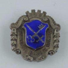 Militaria: INSIGNIA REPUBLICA ESMALTADA DEL AYUNTAMIENTO DE PRAT DE LLOBREGAT, GUERRA CIVIL, CATALUÑA, REALIZAD. Lote 101614615