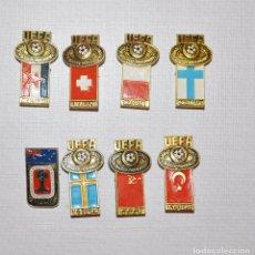 Militaria: LOTE 8 INSIGNIAS SOVIETICAS .TEMATICA-CAMPIONATO DEL FUTBOL ENTRE UNIORES 1988.URSS. Lote 104286495