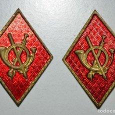Militaria: PAREJA DE ROMBOS INFANTERIA CHAPA TROQUELADA. Lote 104666959