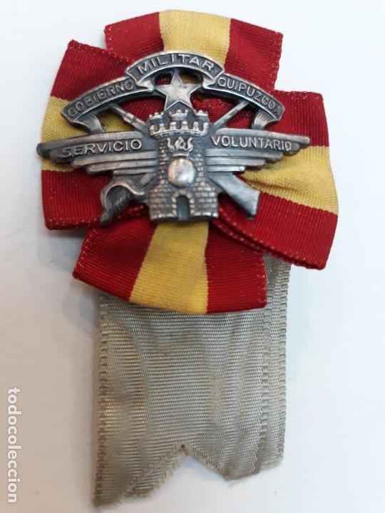 EMBLEMA GOBIERNO MILITAR DE GUIPÚZCOA SERVICIO VOLUNTARIO GUERRA CIVIL (Militar - Insignias Militares Españolas y Pins)