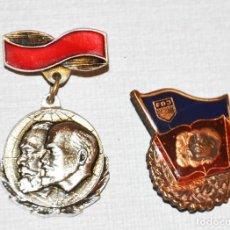Militaria: LOTE DOS INSIGNIAS .LENIN I MARX..URSS I REPÚBLICA DEMOCRÁTICA ALEMANA. Lote 116586351