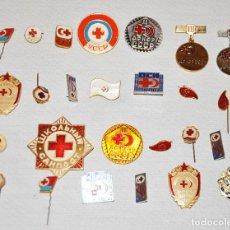 Militaria: LOTE 25 INSIGNIAS -PINS SOVIETICAS .TEMATICA- CRUZ ROJA.URSS. Lote 117813191