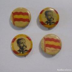 Militaria: SPANISH AMERICAN WAR. 4 PINES DE EPOCA. VIVA ESPAÑA!, GENERAL ESPAÑOL, BANDERA. VER FOTOS. Lote 148589546