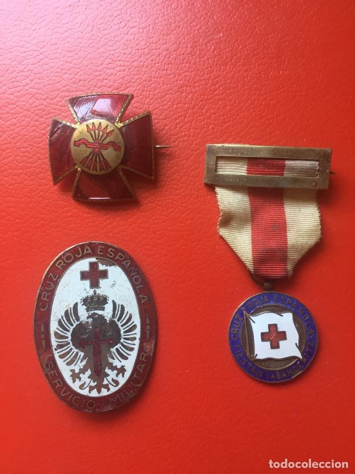 LOTE MEDALLAS DAMAS CRUZ ROJA GUERRA CIVIL (Militar - Insignias Militares Españolas y Pins)