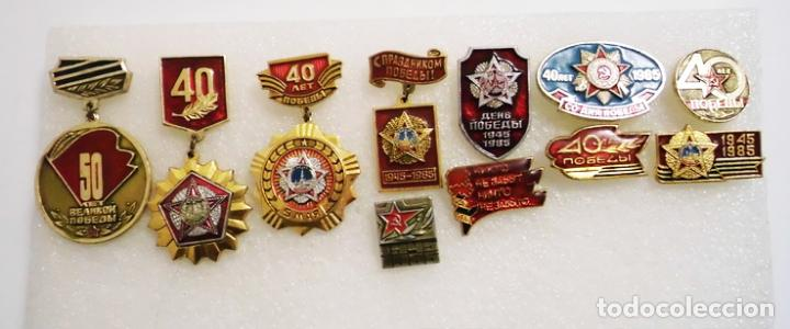 LOTE 10 INSIGNIAS SOVIETICAS .TEMATICA-30 ANIVERSARIO DE VICTORIA EN SGM.URSS (Militar - Insignias Militares Internacionales y Pins)