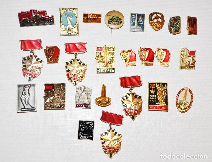 LOTE 24 INSIGNIAS SOVIETICAS .TEMATICA-SIUDADES SOVIETICAS.SGM.URSS (Militar - Insignias Militares Extranjeras y Pins)