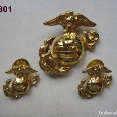 Militaria: U.S.A. - E.E.U.U. : INSIGNIA DE GORRA DE LOS MARINES Y PAREJA INSIGNIAS DE CUELLO : ENVÍO GRATIS. . Lote 122890603