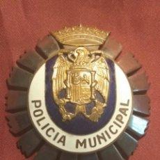 Militaria: GRAN PLACA POLICÍA MUNICIPAL EPOCA FRANCO. Lote 122989200