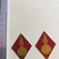 Militaria: PAR ROMBOS TROPA ALUMINIO FOTOIMPRESIÓN, ARTILLERÍA. Lote 137593426