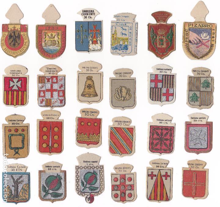 LOTE 24 EMBLEMAS DE AUXILIO SOCIAL EMBLEMA CORRIENTE SERIE B Y C (Militar - Insignias Militares Españolas y Pins)