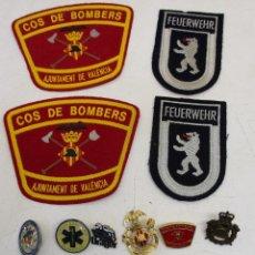 Militaria: LOTE 9 PIN PINS INSIGNIAS + AGUJA CORBATA + PARCHES CUERPO DE BOMBEROS. Lote 52561654