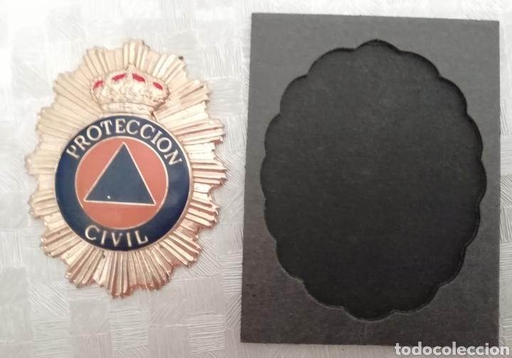Militaria: Placa y cartera piel PROTECCIÓN CIVIL ESPAÑA - Foto 4 - 136285114