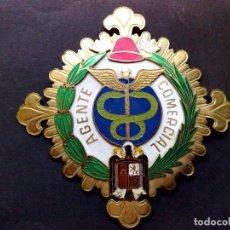 Militaria: ANTIGUA PLACA DE METAL ESMALTADO,ESCUDO FRANQUISTA,ORLEADA LAUREL DE AGENTE COMERCIAL (DESCRIPCIÓN). Lote 139983698