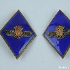 Militaria: AVIACION, ROMBOS DEL CUERPO DE INTENDENCIA, EPOCA FRANCO. CORONA IMPERIAL. MUY BUENA CALIDAD.. Lote 141287558