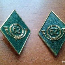 Militaria: REGIMIENTO DE INFANTERIA (ARAPILES Nº62) CAZADORES DE MONTAÑA - PAREJA DE ROMBOS. Lote 142556374
