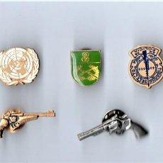 Militaria: LOTE 7 PINS,TIRADOR ELITE POLICIA NACIONAL,GUARDIA CIVIL,TIRO OLIMPICO,ONU,REVOLVER WALTHER-COLT. Lote 145394422
