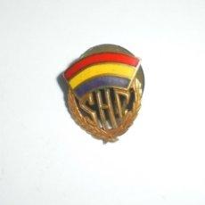 Militaria: ANTIGUO PIN DE LA REPUBLICA ESPAÑOLA. INICIALES DE SOCIEDADES HISPANAS CONFEDERADAS. VER. Lote 147467530