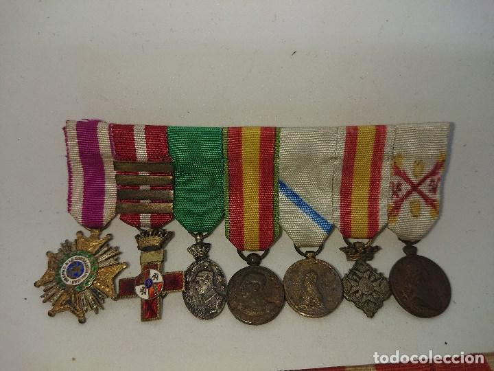 Militaria: Pasador con siete condecoraciones Militares pequeñas y dos pasadores , mirar descripcion - Foto 4 - 149763142