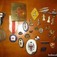 Militaria: LOTE MEDALLAS INSIGNIAS MILITARES CRUZ ROJA ETC. Lote 150729702