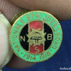 Militaria: REAL ASOCIACION COMBATIENTES NACIONALES BELGICA NATIONALE STRIJDERSBOND 1914 1918 ESMALTE 15MM. Lote 152830678