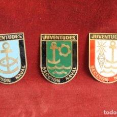Militaria: LOTE 3 PLACAS METAL FRENTE DE JUVENTUDES, SECCION NAVAL, FALANGE. Lote 153697958