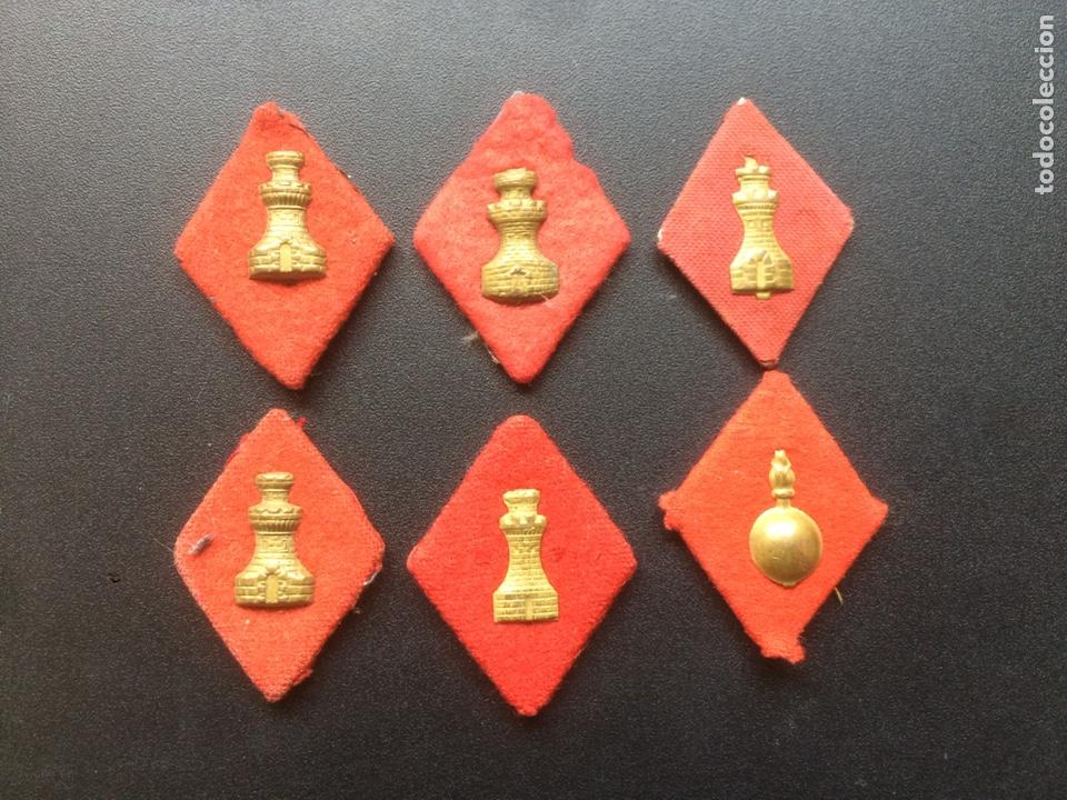 LOTE 6 ROMBOS MILITARES ANTIGUOS. INGENIEROS (Militar - Insignias Militares Españolas y Pins)