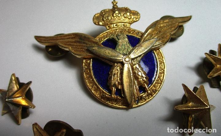 Militaria: PILOTO AVIACIÓN CIVIL insignia, emblema + distintivos estrellas 6 puntas - Foto 2 - 161711526