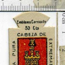 Militaria: EMBLEMA AUXILIO SOCIAL DE SOLAPA SERIE B Nº 296 SORIA CORRIENTE 30CTS. Lote 167751492