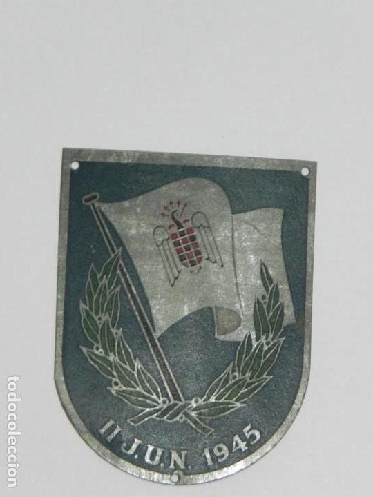 Militaria: PLACA METALICA FALANGE, SEU DE LOS II JUEGOS UNIVERSITARIOS NACIONALES 1945, MIDE 6,7 X 4,5 CMS. - Foto 2 - 170493776