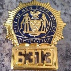Militaria: INSIGNIA PLACA DE POLICIA AMERICANA DETECTIVE Nº 6313 CITY OF NEW YORK POLICE. Lote 170559480