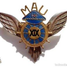 Militaria: DISTINTIVO DE MILICIAS AÉREAS UNIVERSITARIAS - MAU - EB PLATA. Lote 171107418