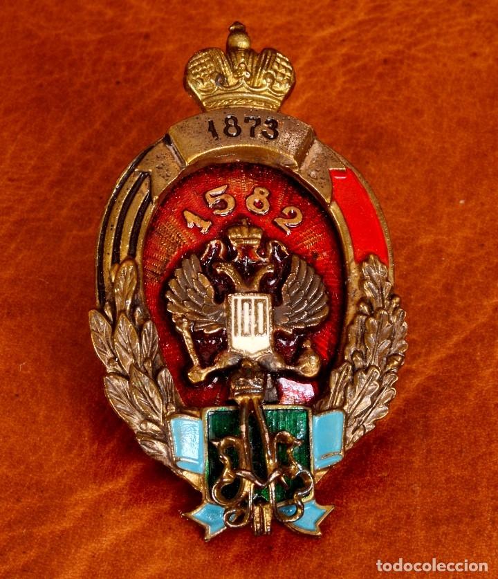 INSIGNIA DEL IMPERIO RUSO ZAR ALEJANDRO II CON FECHA 1873 (Militar - Insignias Militares Extranjeras y Pins)