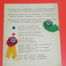 Militaria: DISTINTIVOS DE LA ASAMBLEA Y LOS XVIII CAMPEONATOS DEL MUNDO DE TETRATHLON DE SALVAMENTO ACUATICO, C. Lote 175565037