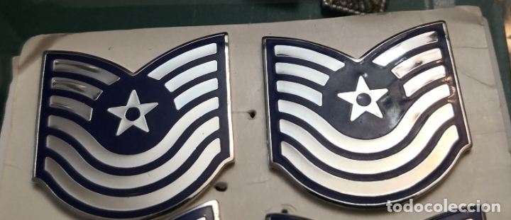 USAF. US AIR FORCE. PAREJA DE INSIGNIAS DE CUELLO DE UN TECHNICAL SERGEANT (Militar - Insignias Militares Extranjeras y Pins)