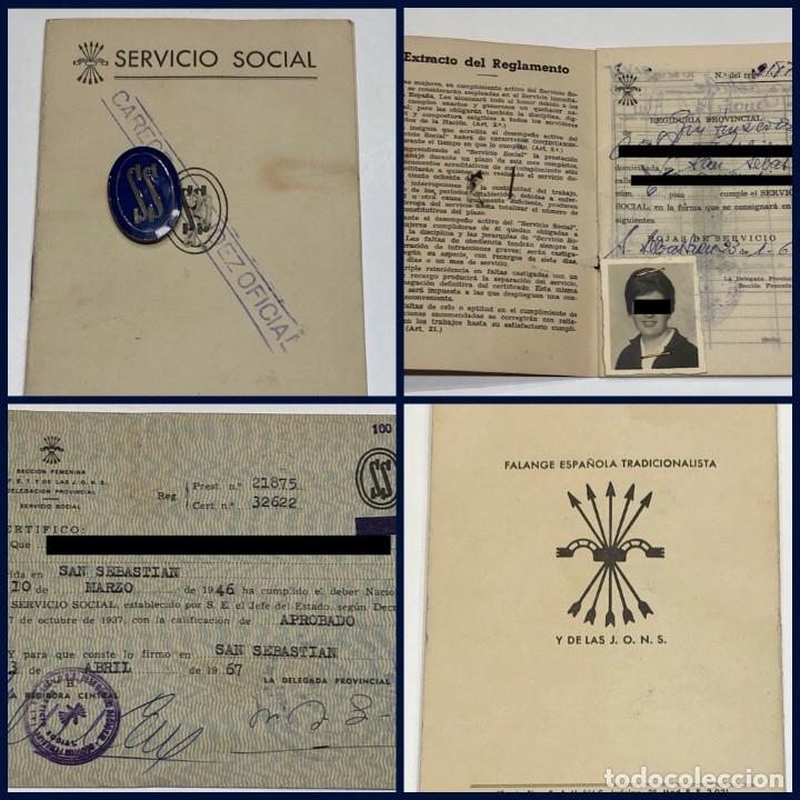 LOTE CARTILLA - INSIGNIA AZUL Y TARJETA FALANGE ESPAÑOLA SERVICIO SOCIAL SECCIÓN FEMENINA 1964 (Militar - Insignias Militares Españolas y Pins)