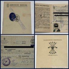 Militaria: LOTE CARTILLA - INSIGNIA AZUL Y TARJETA FALANGE ESPAÑOLA SERVICIO SOCIAL SECCIÓN FEMENINA 1964. Lote 182050683