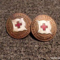 Militaria: 2 MEDALLAS DE LA CRUZ ROJA ESPAÑOLA, CON IMPERDIBLE. 2,2 CMS. DIÁMETRO.. Lote 48556295