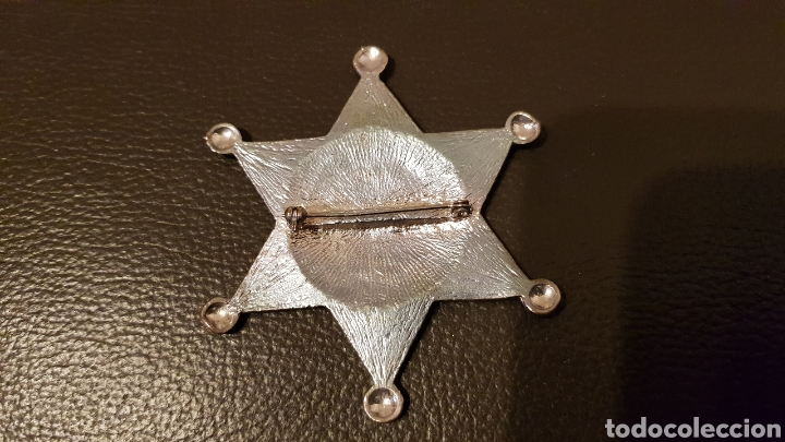 Militaria: Antigua placa Deputy Sheriff metal badge Law enforcement 6 Estrella puntas - Foto 2 - 183782497