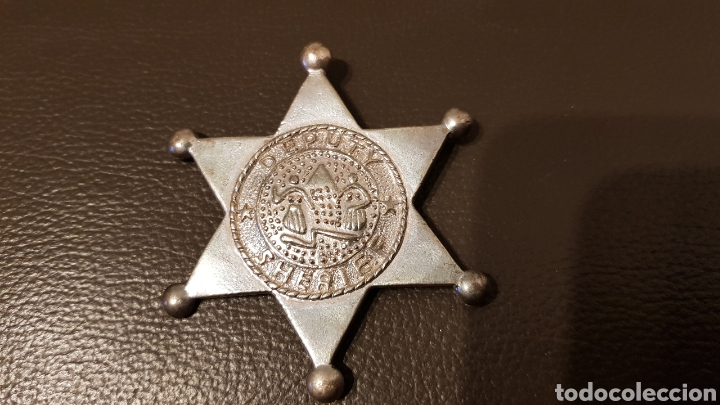 Militaria: Antigua placa Deputy Sheriff metal badge Law enforcement 6 Estrella puntas - Foto 3 - 183782497