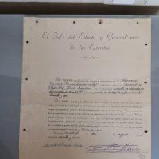 Militaria: DOCUMENTO ASCENSO A TENIENTE FIRMADO GENERAL FRANCO 1965. Lote 183905580