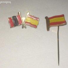 Militaria: BANDERAS DE ESPAÑA Y LA FALANGE - PIN DE AGUJA Y PIN DE ALFILER - AÑOS 50. Lote 184189251