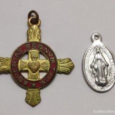 Militaria: DETENTE ENEMIGO EL CORAZON DE JESUS ESTA CONMIGO Y MEDALLA. Lote 186306336