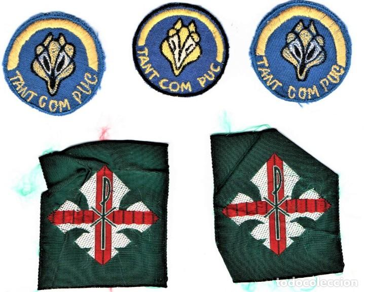 BOY SCOUTS,5 INSIGNIAS DE TELA AÑOS 60,MINYONS ESCOLTES DE CATALUNYA PARA GORRA,CAMISA.UNIFORME,VIC (Militar - Insignias Militares Españolas y Pins)