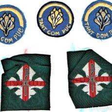 Militaria: BOY SCOUTS,5 INSIGNIAS DE TELA AÑOS 60,MINYONS ESCOLTES DE CATALUNYA PARA GORRA,CAMISA.UNIFORME,VIC. Lote 190008183