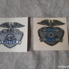 Militaria: CALCOMANIAS PLACA ANTIGUAS PARA CASCO MOTORISTA POLICIA Y SHERIFF CALIFORNIA USA AÑOS 70. Lote 194290266