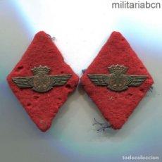 Militaria: PAR DE ROMBOS DEL EJÉRCITO DEL AIRE. AÑOS 40. METAL SOBRE TELA.. Lote 194328581