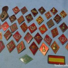 Militaria: * LOTE DE 38 ROMBOS EMBLEMAS ANTIGUOS, VARIADOS. ZX. Lote 194540352