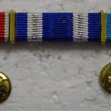 Militaria: PASADOR TRIPLE MILITAR. MEDALLAS. MISIONES INTERNACIONALES Y MÉRITO AERONÁUTICO. Lote 194884395