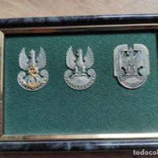 Militaria: CUADRO CON TRES INSIGNIAS POLACAS, TIERRA MAR Y AIRE, SON ESCUDOS DE GORRA. Lote 197211547